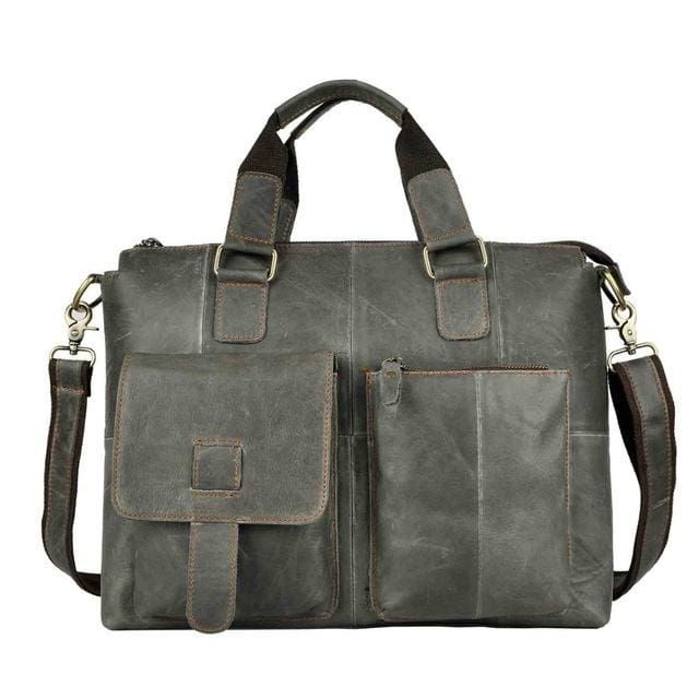 Men quality leather antique retro business briefcase - gray
