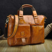 Men quality leather antique retro business briefcase - light brown