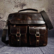 Men real leather antique style coffee briefcase - coffee