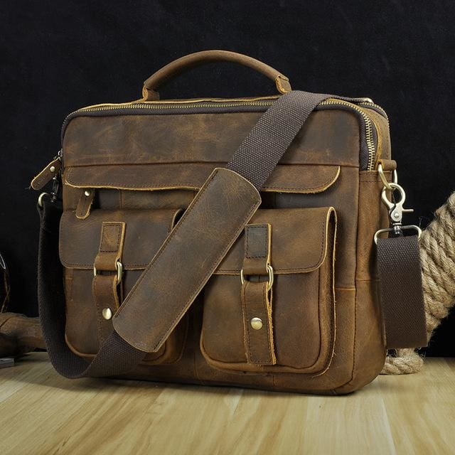Men real leather antique style coffee briefcase - dark brown
