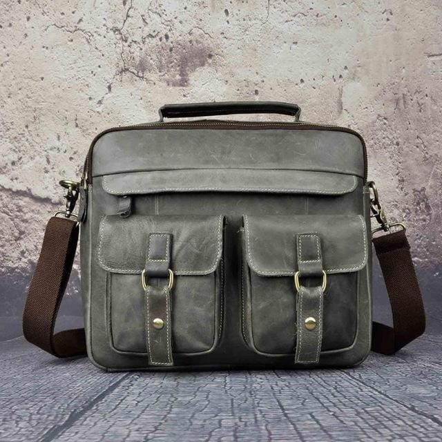 Men real leather antique style coffee briefcase - grey
