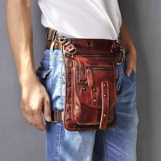 Men travel shoulder crossbody messenger bag - burgundy - Men_Briefcase