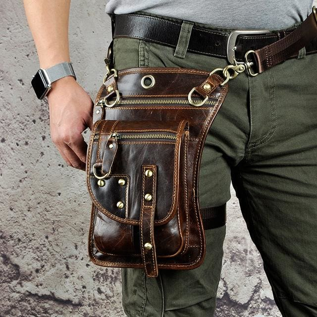 Men travel shoulder crossbody messenger bag - Coffee - Men_Briefcase