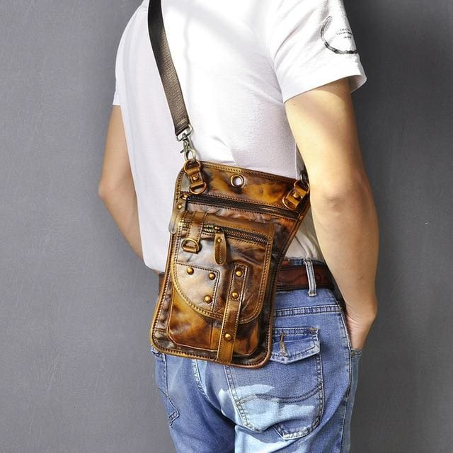Men travel shoulder crossbody messenger bag - light brown - Men_Briefcase