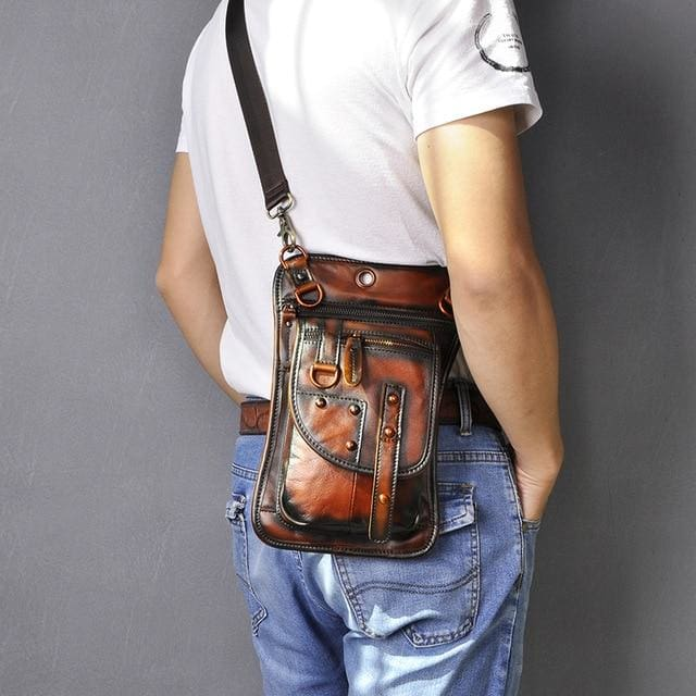 Men travel shoulder crossbody messenger bag - orange - Men_Briefcase