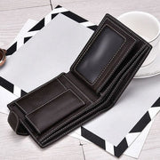 Men Wallets Short Bifold Business Leather Wallet - Wallets