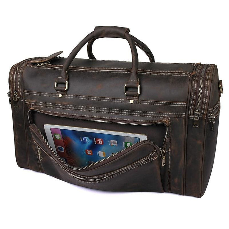 Mens Crazy Horse Leather Travel Bag Cow Leather - Men_Briefcase