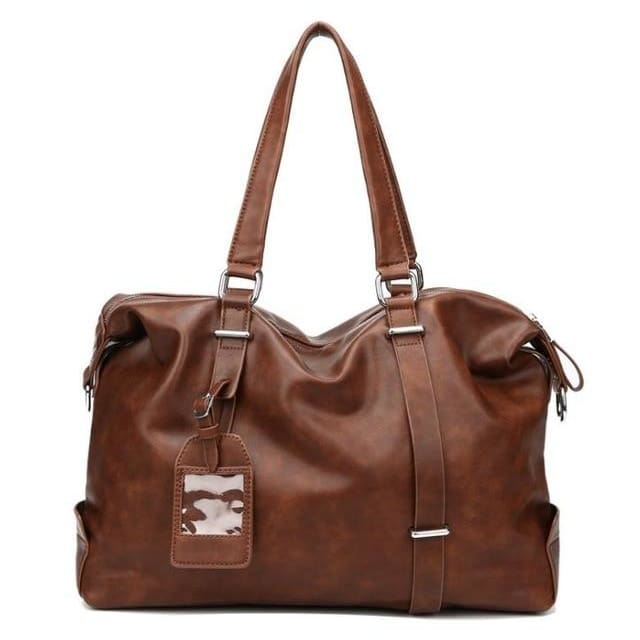 Mens Travel Shoulder Bag - Brown - Canvas_Tote_2020