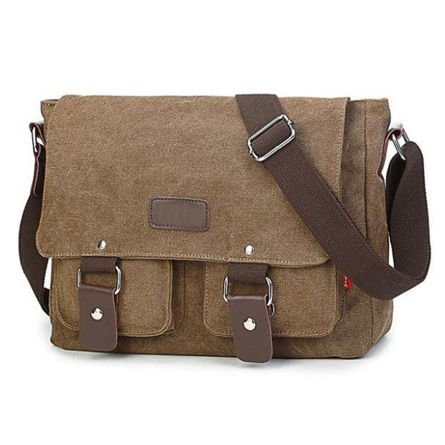 Mens vintage canvas crossbody bag - Coffee - Backpacp_Oct