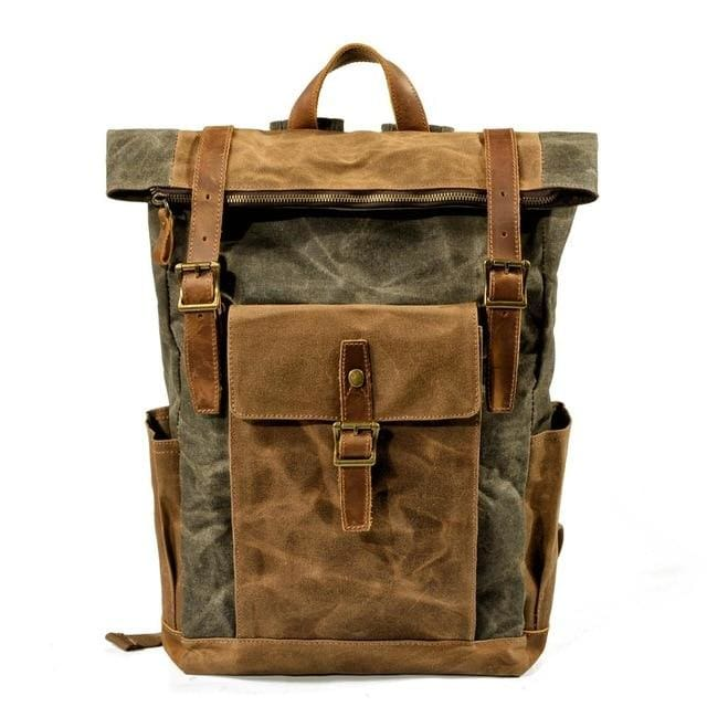 Oil wax canvas leather backpack - 9120Army Green - Backpacp_Oct