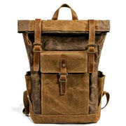 Oil wax canvas leather backpack - 9120coffee - Backpacp_Oct