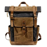 Oil wax canvas leather backpack - 9120Dark gray - Backpacp_Oct