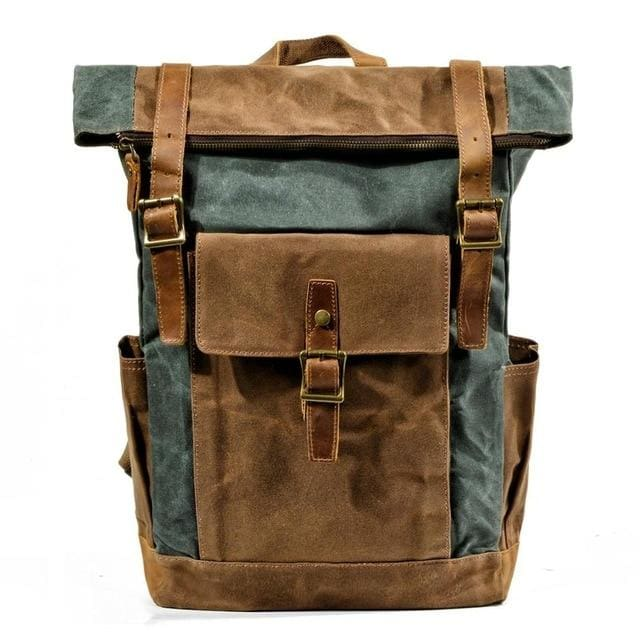 Oil wax canvas leather backpack - 9120Lake green - Backpacp_Oct