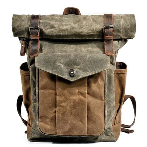 Oil wax canvas leather backpack - Army Green - Backpacp_Oct