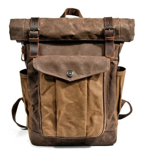 Oil wax canvas leather backpack - Dark brown - Backpacp_Oct