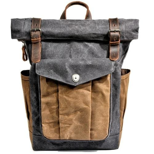 Oil wax canvas leather backpack - Dark Grey - Backpacp_Oct