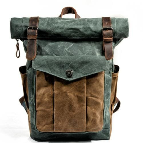 Oil wax canvas leather backpack - Green lake - Backpacp_Oct