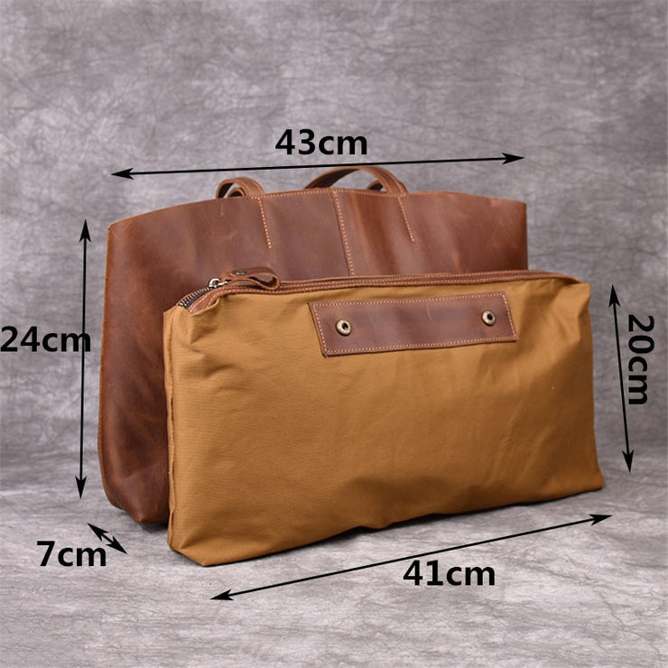 Casual Simple Genuine Leather Ladies Tote Bag