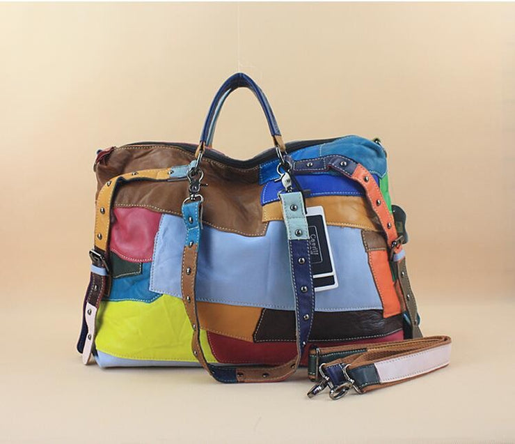 Alexander Large Genuine Leather Bags Patchwork