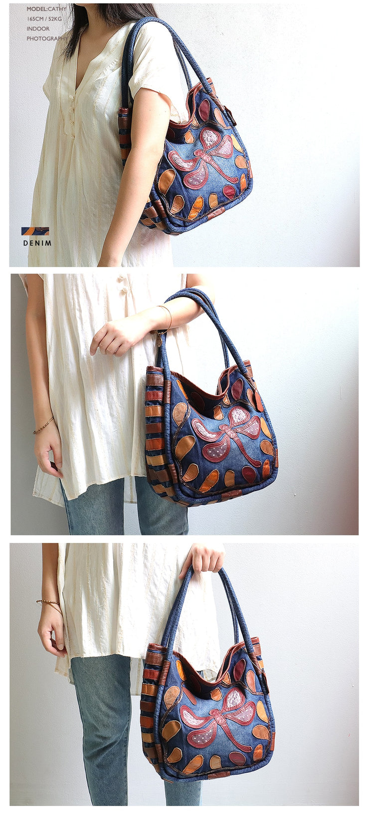 Denim Top-Handle Bags Women Leather Patchwork Hobos