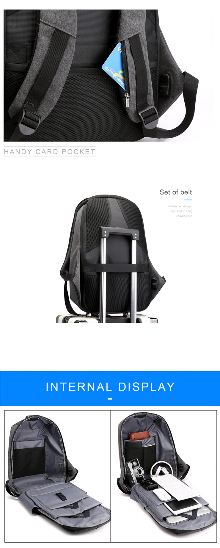 Backpack Travel Anti Theft USB Charging Large Capacity