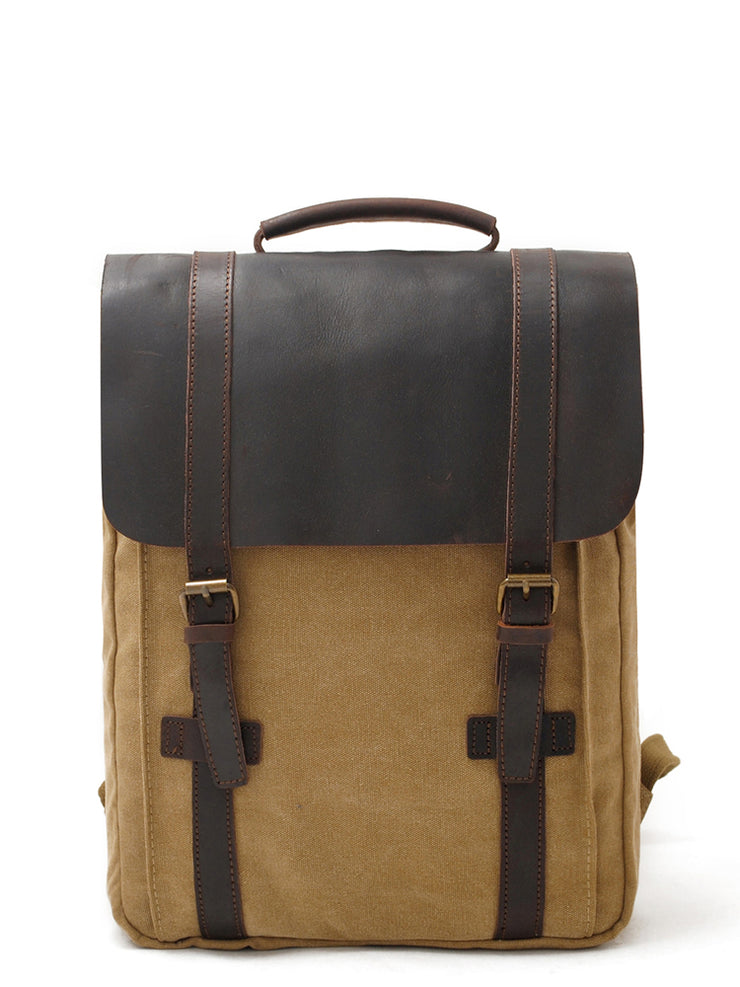 "Canvas Leather Backpacks 14"" Laptop Waterproof Daypacks"