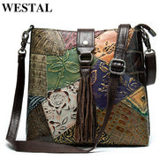 Women's genuine leather handbag patchwork shoulder bag