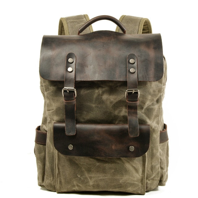 Laptop Backpack Waterproof Cotton Waxed Canvas Bag