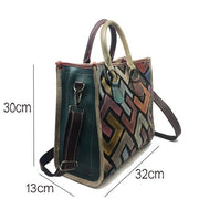 Women Brushed Cow Leather Big Capacity Square Shape