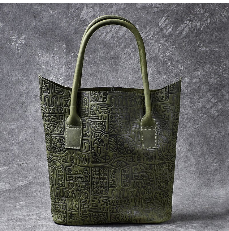Big Tote Bag Dark Green Oracle Leather Large Capacity