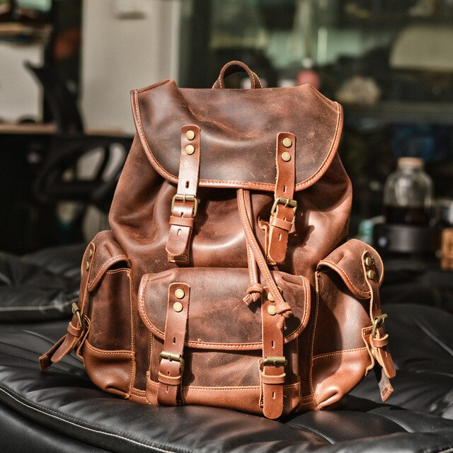 Genuine Leather Men Backpack  Outdoor