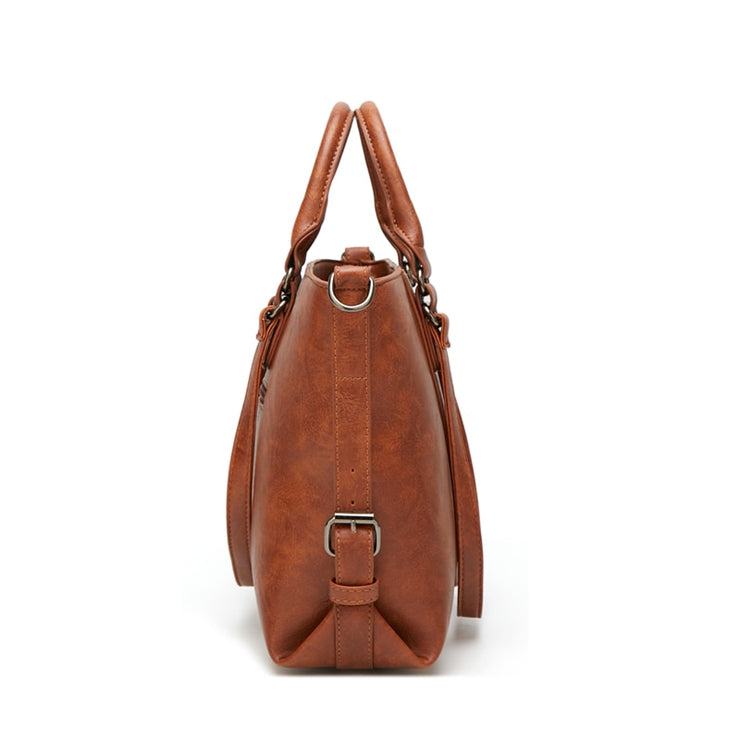 Retro larger capacity PU leather women shoulder bag
