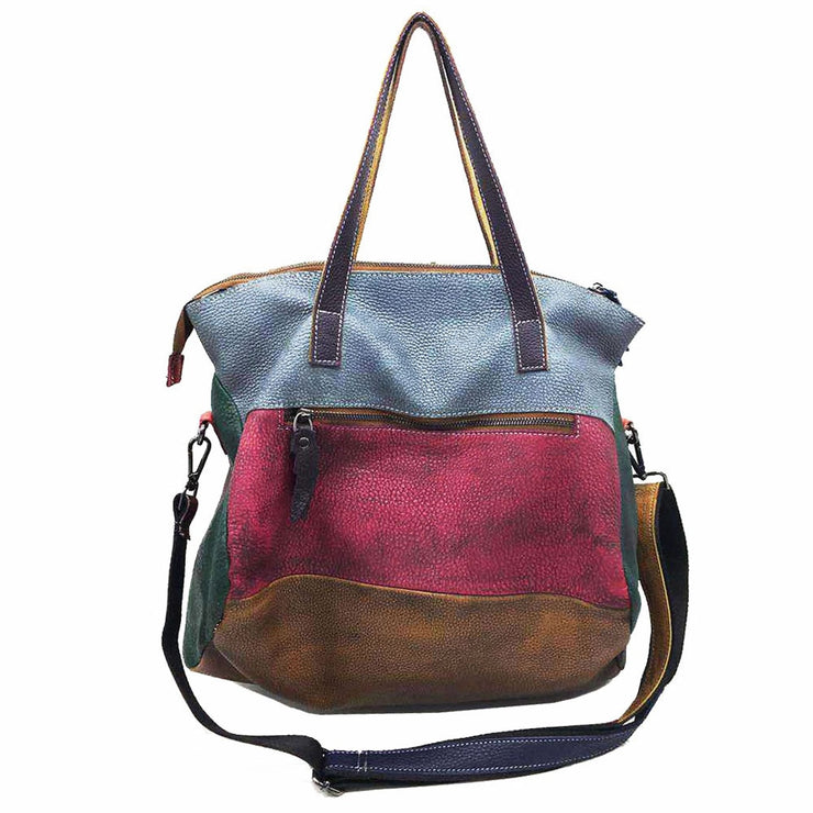 Retro Genuine Leather Women Bag Color Stitching