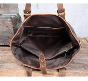 Vintage large-capacity crazy horse cowhide men's tote bag