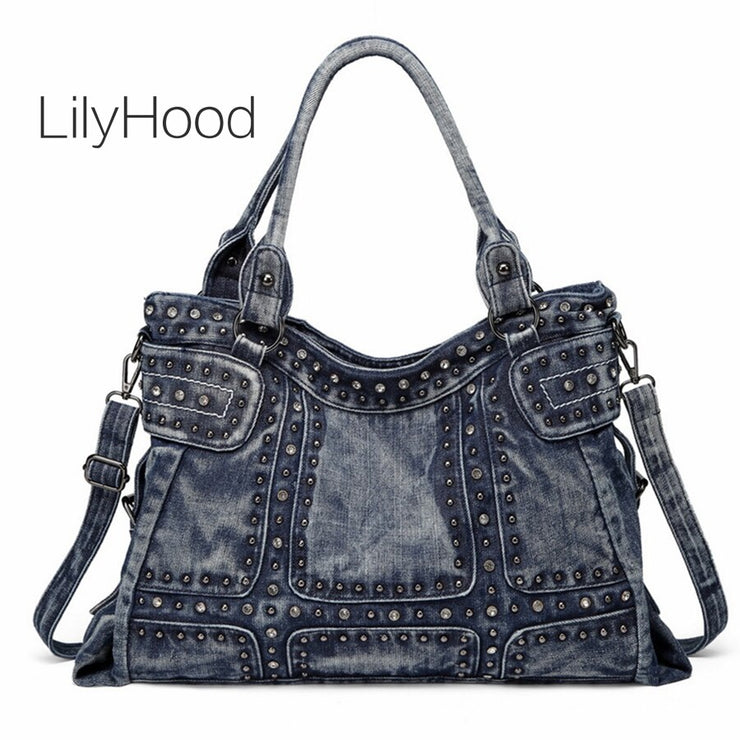 Denim Washed Color Handbag Women Retro Rock Style Jean Rivet