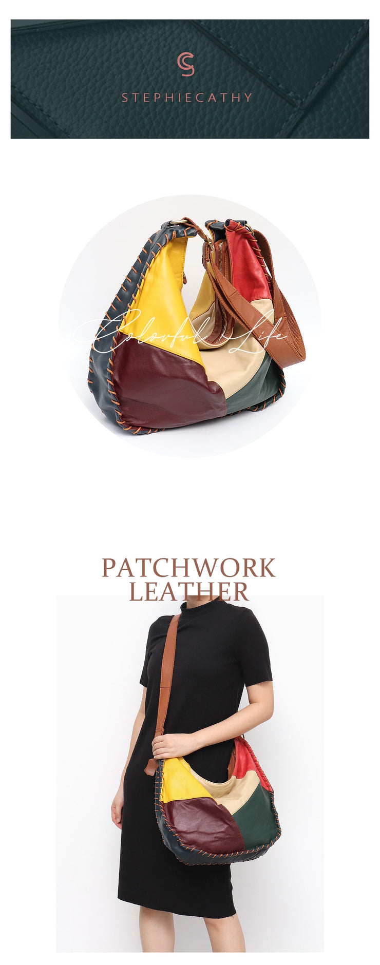 Casual Genuine Leather Hobo Vintage Colorful Patchwork Style