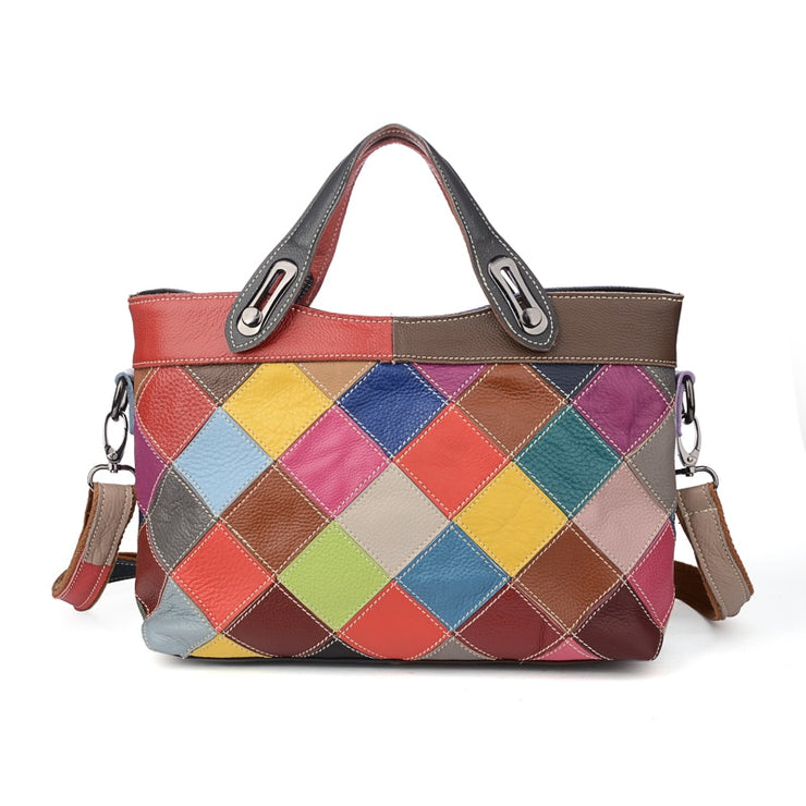 Vintage Colorful Randomly Patchwork Leather Top-handle Bags