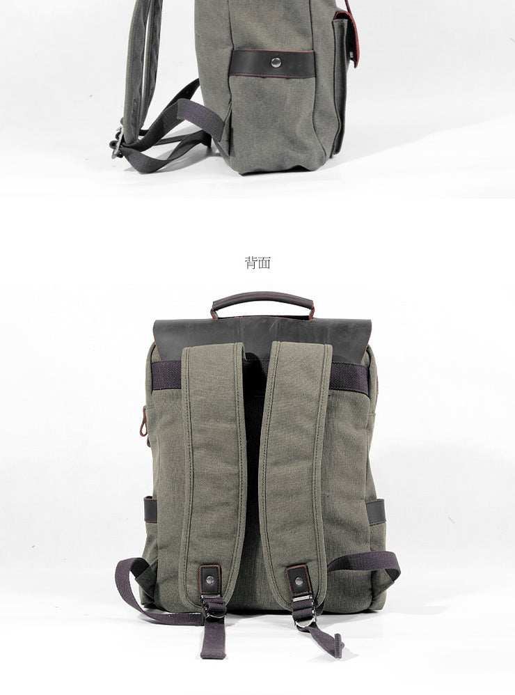 Canvas backpack leather