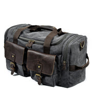 Men's Canvas Leather Travel Bags Carry on Luggage