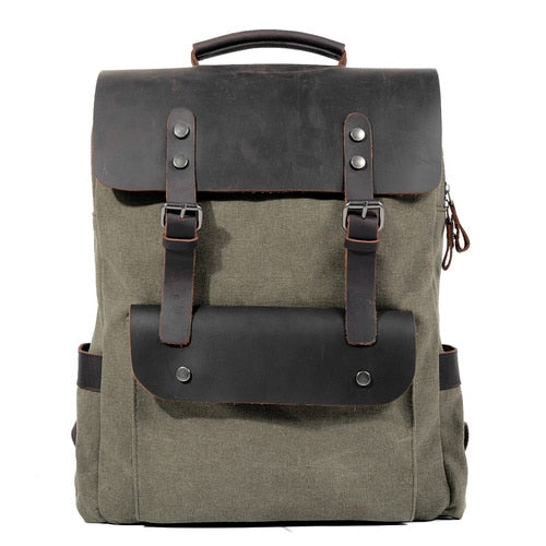 "Vintage Canvas Leather Backpacks for Men 14"" Laptop Daypacks"
