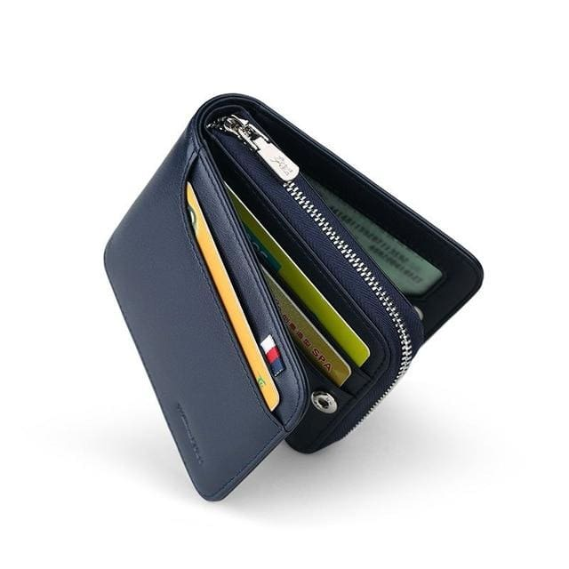 Short Zipper Black Wallets - blue - wallet