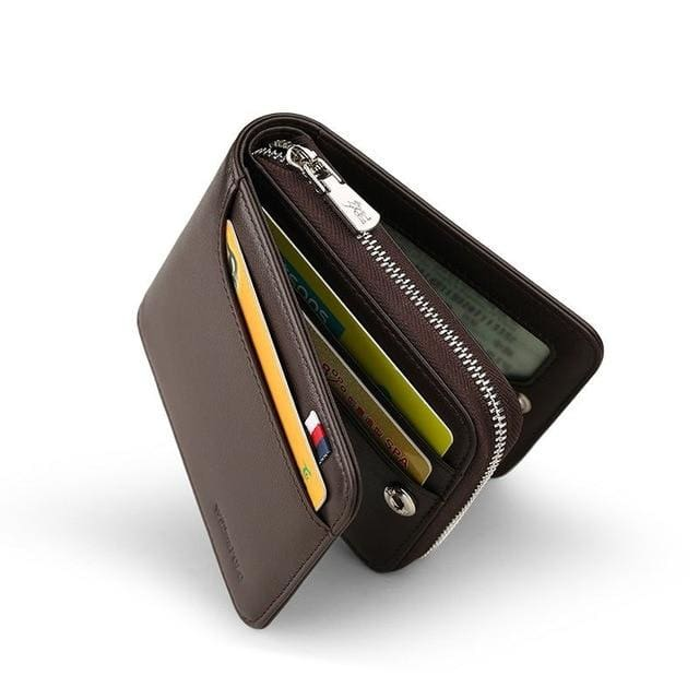 Short Zipper Black Wallets - brown - wallet