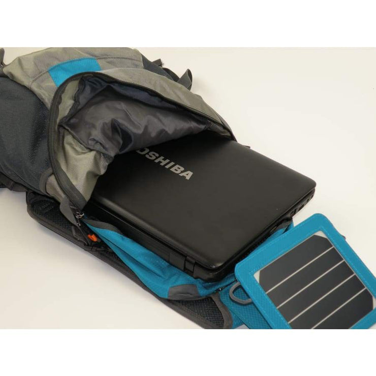 Solar panel Backpack 35L with Power Bank 6.5W color Teal Blue - Solar backpack