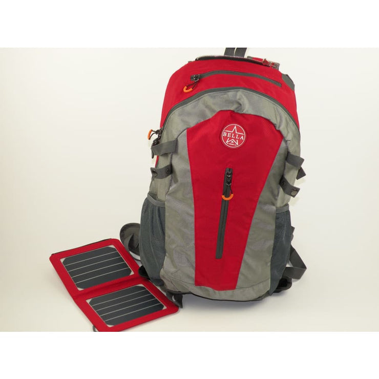 Solar panel Backpack 35L with Power Bank color Red/Grey - Solar backpack