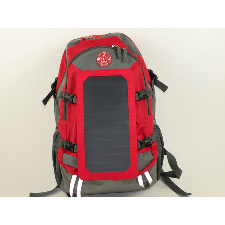 Solar powered Backpack 45L with Power Bank Charger 6.5W color Red - Solar backpack