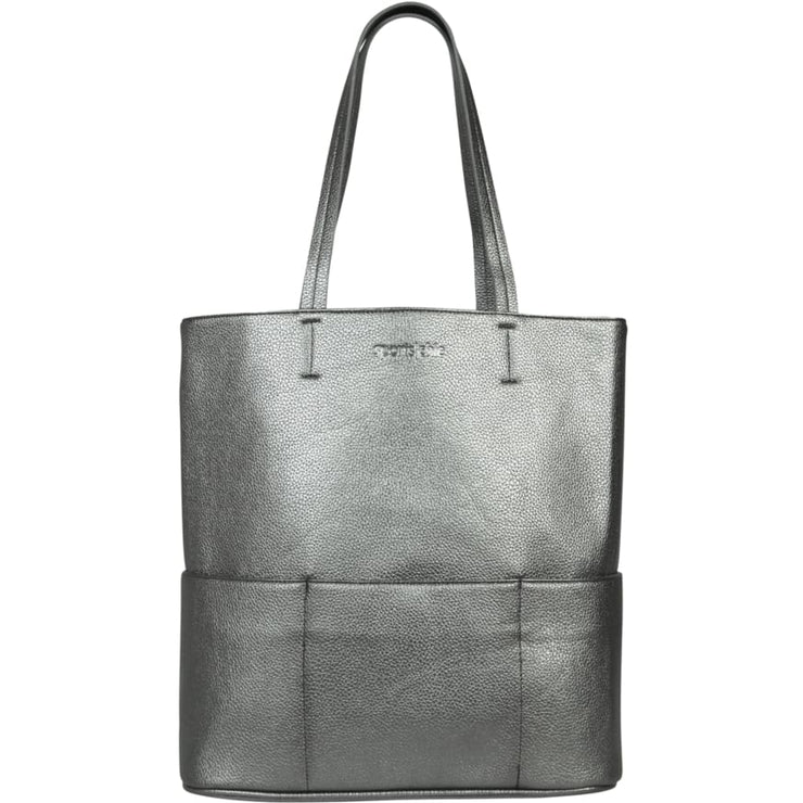 Sports Chic Women's Vegan Tote Bag - Metallic Pewter - Canvas_Tote_2020