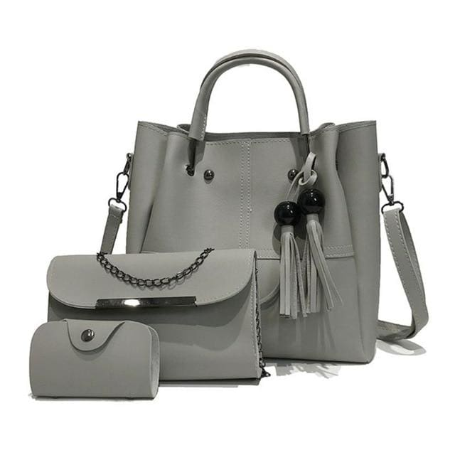 Tassel shoulder bags 3pcs - Gray - Women_Bags