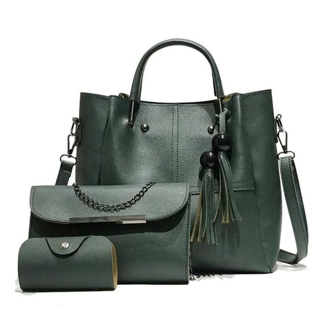 Tassel shoulder bags 3pcs - Green - Women_Bags