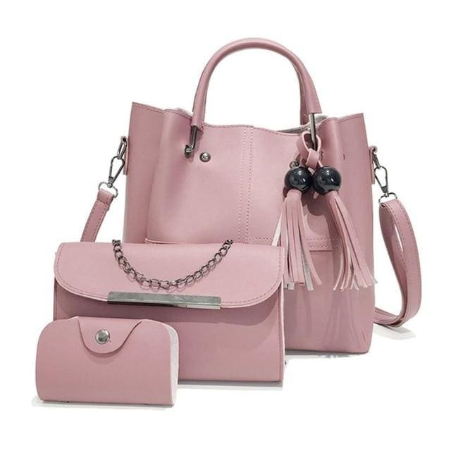 Tassel shoulder bags 3pcs - Pink - Women_Bags