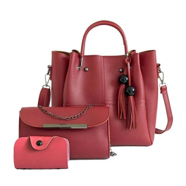 Tassel shoulder bags 3pcs - Red - Women_Bags